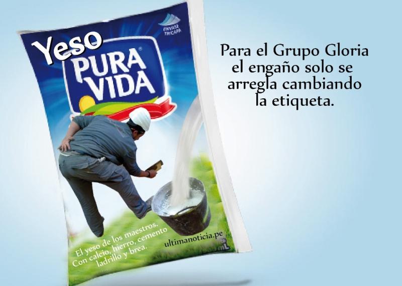 """Grupo Gloria cambiará la etiqueta de Pura Vida: En vez de """"Leche"""" dirá """"Yeso"""""""