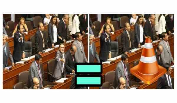 En un debate en el Congreso, Becerril deja un cono en su lugar y nadie nota la diferencia