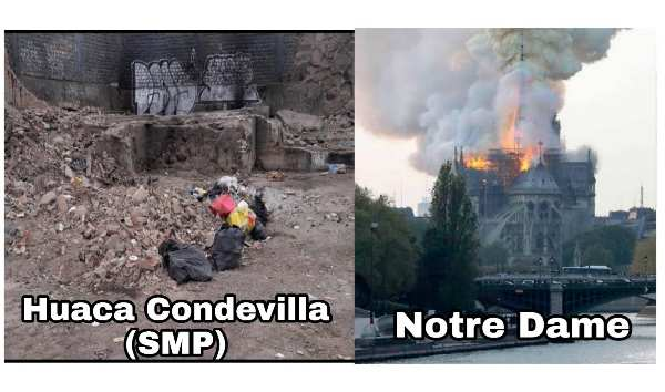 Limeño que usa las huacas como basurero sufre por el incendio de Notre Dame